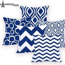 Geometric Blue Cushion Cover  45*45 Decorative Pillows Dropshipping Pillow Case Sofa Cushions Custom