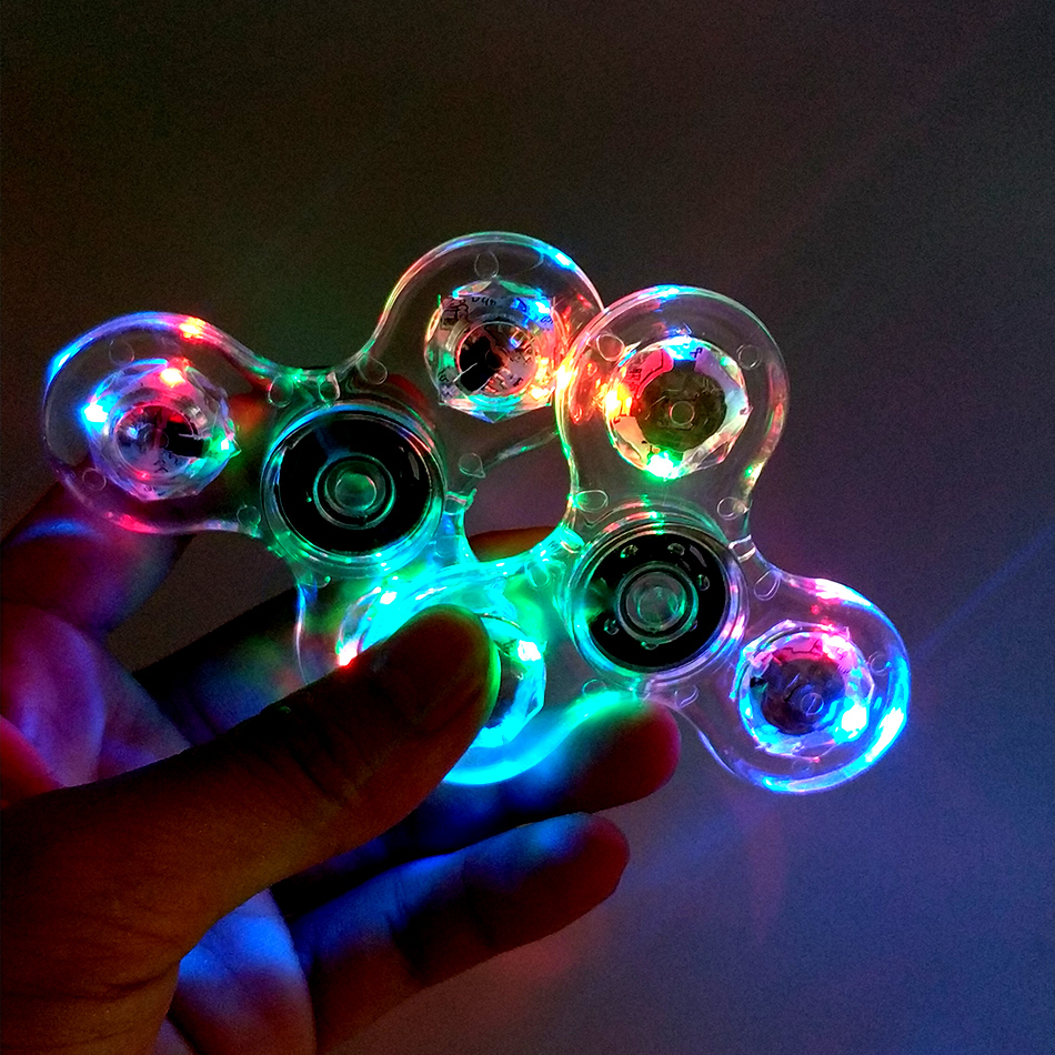 LED Light Fidgets Spinner Finger ABS EDC Hand Spinner Tri for Kids Autism ADHD Anxiety Stress Relief Focus Clear Handspinner new key ring hand spinner tri spinner reduce stress edc fidget toy for autism adhd