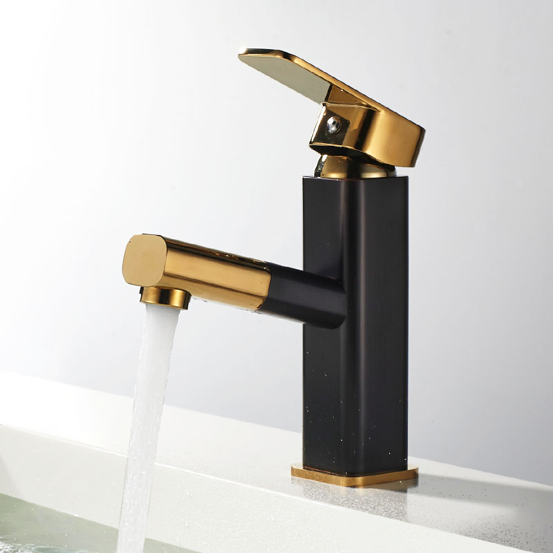 Nice Black Gold Color Brass Pull Out Bathroom Faucet Sink Basin Mixer Tap Cold Hot Water taps With Gold Hand Spray JK020BG black brass vanity sink pull out faucet basin mixer hot and cold water for bathroom toilet kitchen