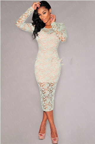 d4f73d38fb0 Sexy Women Long Sleeve Mesh Folral Lace Club Party Bodycon Solid Black White  Mini Dress Nude Illusion Long Sleeves Midi Dress