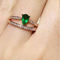 Anillos Qi Xuan_Fashion Jewelry_Colombia Green Stones Fashion Rings_Plated розовое золото женская Rings_Factory прямые продажи