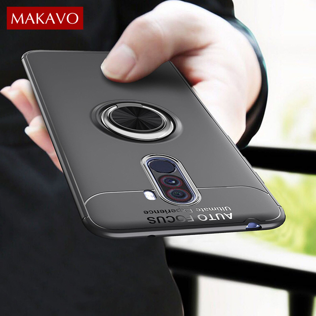 huge selection of 285ba 7a153 US $3.69 18% OFF|MAKAVO For Xiaomi Pocophone F1 Case Poco F1 Ring Holder  Soft Matte Silicone Back Cover For Xiaomi Mi F1 Little F1 Phone Cases-in ...