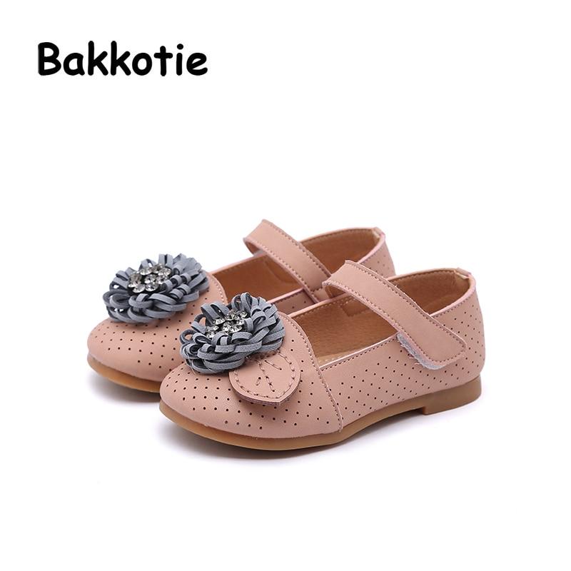 Bakkotie 2018 Spring Baby Girl New Fashion Flower Rhinestone PU Leather Party Shoe Child Baby Princess Flat kid Brand Mary Jane