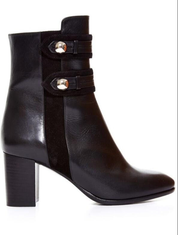 Kaeve New Black Genuine Leather Ankle Boots Chunky Heels Fashion Martin Boots Round Toe Metal Decoration Women's Boots riding winter boots feathers 2015 new fashion korean metal decoration genuine leather elevator pull on pure color round toe