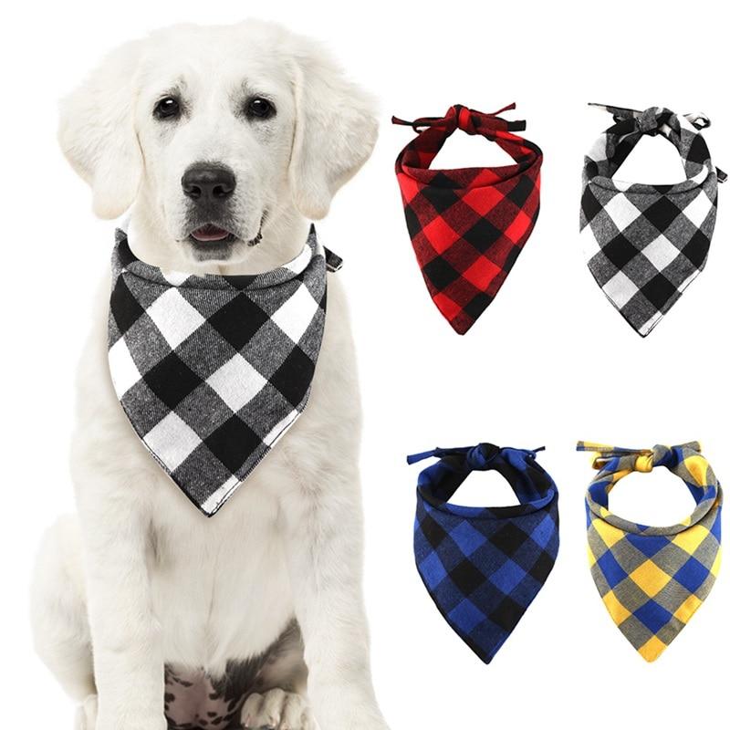 New Winter Dog Bandanas Cotton Plaid Washable font b Pet b font Bandanas Scarf Bow Ties