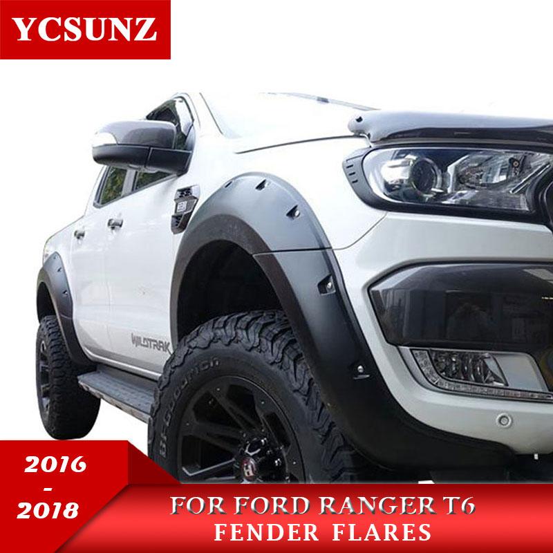 Otomobiller ve Motosikletler'ten Çamurluklar'de 9 inç tekerlek Arch Pocket Rivet stil çamurluk genişletici için Ford Ranger Wildtrak T7 2016 2017 2018 çift kabin title=