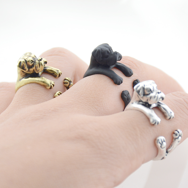Retro Brass Knuckle Boxer Anel Ring Punk 3D Animal Lover Dog Anillos Couple Rings For Women Men Jewelry Best Friends Gifts