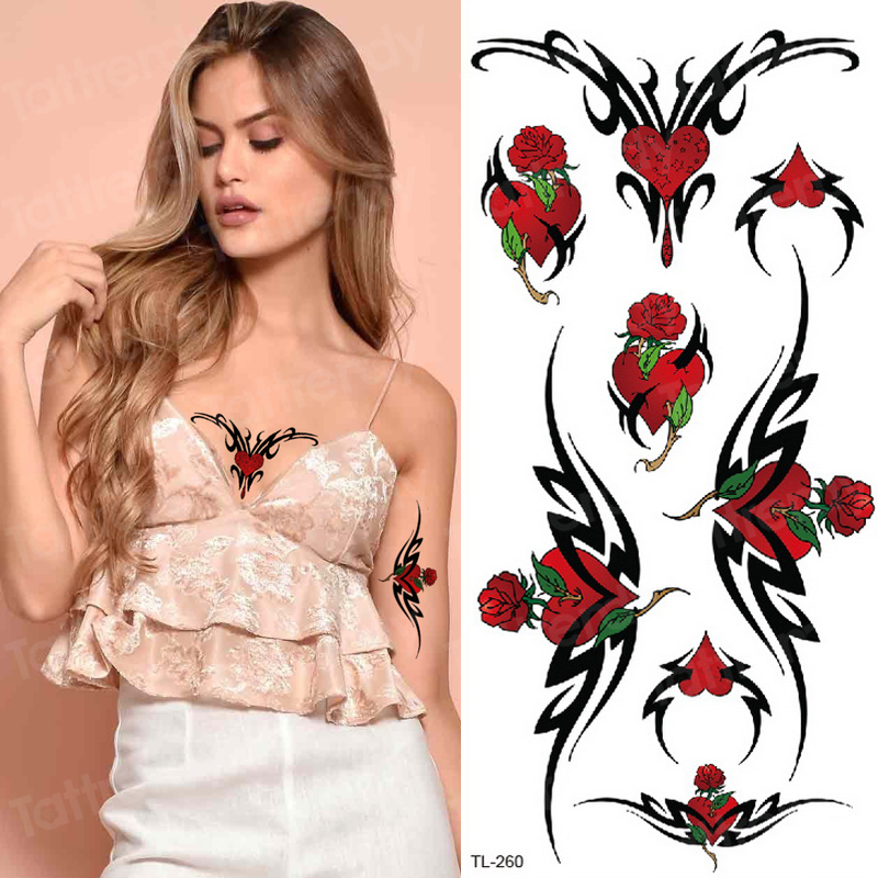 Temporary Tattoo Sticker Flower Rose Breast Tattoo Sexy Girls Body Tatoo Fake Women Sternum Temporary Tattoos Waterproof Decal