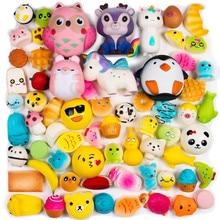 Random 16 PCS Squishy Toys(Including 15 Mini + 1 PC Free Big Squishies),Kawaii Soft Cream Scented Slow Rising Food Animals