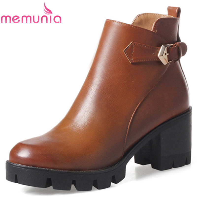 MEMUNIA Big size 34-43 platform boots for women spring autumn shoes ankle boots high heels fashion boots two colors zip hot sale big size 32 44 fashion spring autumn women shoes sexy solid pu leather platform ankle strap high heels augz 958
