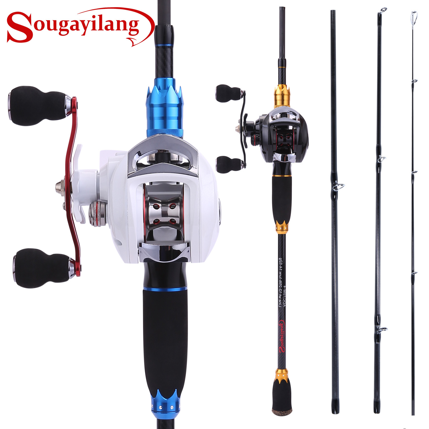 Sougayilang 4 Section Carbon Portable Fishing Rod with Baitcasting Reel Combo for Boat Sea Freshwater Travel Bass Carp FishingSougayilang 4 Section Carbon Portable Fishing Rod with Baitcasting Reel Combo for Boat Sea Freshwater Travel Bass Carp Fishing