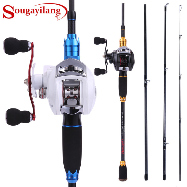 Sougayilang 4 Section Carbon Portable Fishing Rod with Baitcasting Reel Combo for Boat Sea Freshwater Travel Bass Carp Fishing