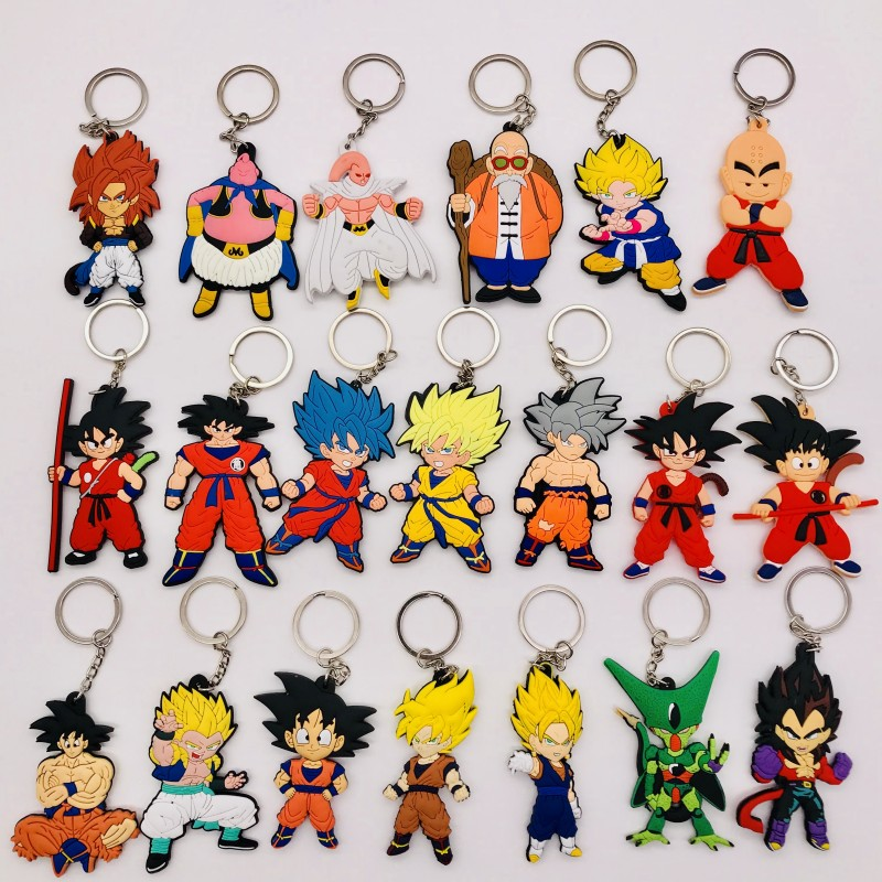 50PCS Anime Figure Dragon Ball Keychain PVC Cartoon Dragon Ball Z Goku Vegeta 3D Double Side