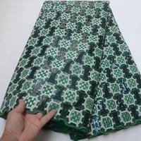 Бесплатная доставка (5 ярдов/шт) Высокое качество Африканский кружевная ткань ручной обработки deep green органзы кружевной ткани с блестками дл