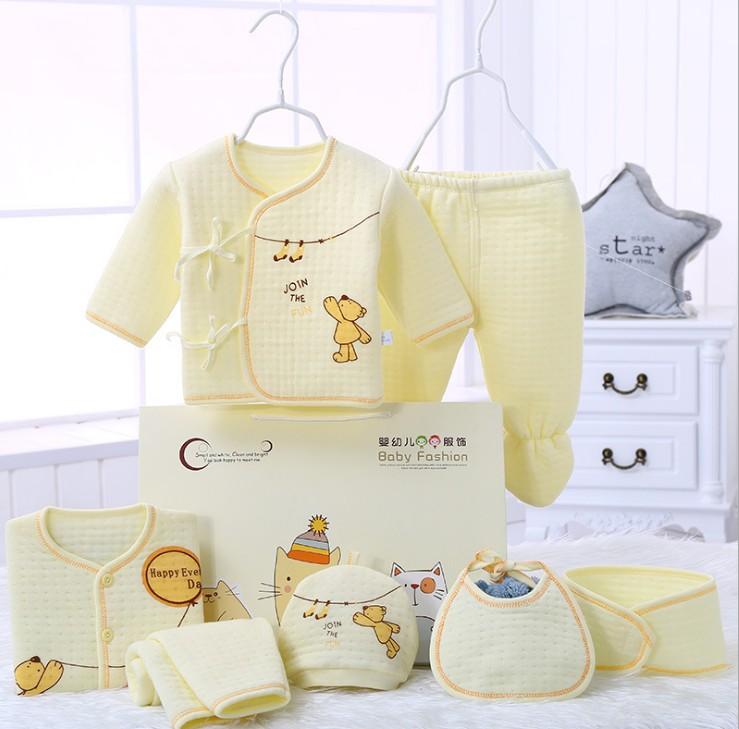 Newborn Baby 0-6M Clothing Set 100% Cotton 7pc/set infant winter Cartoon Underwear,Free Shipping JF006