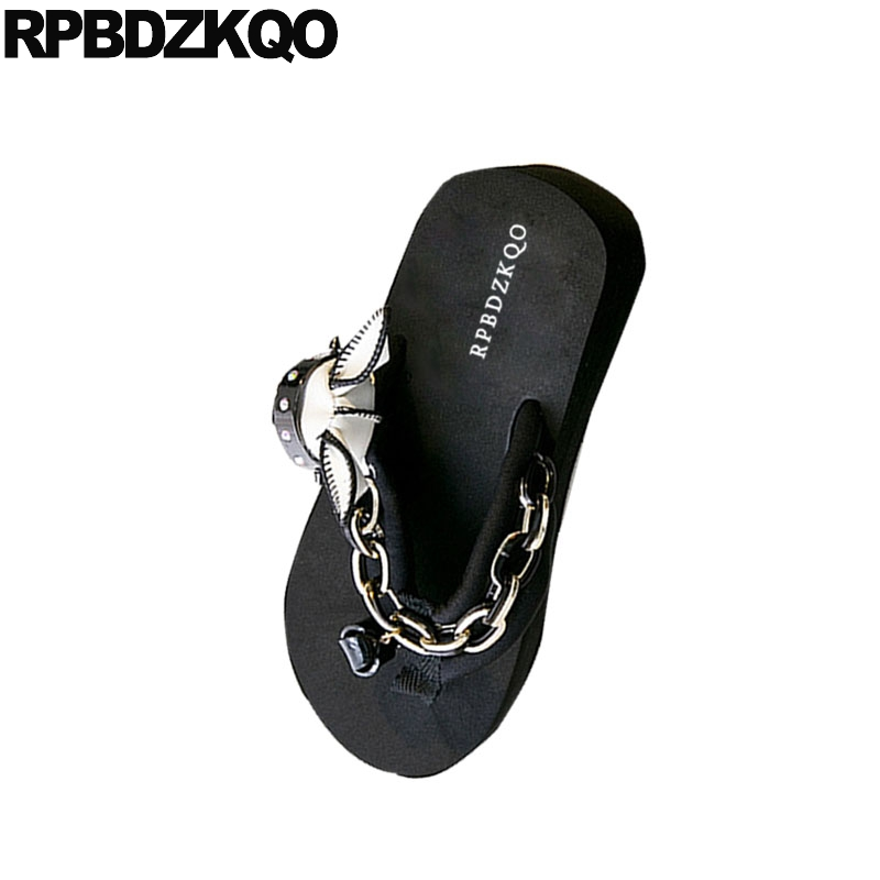 2139b2121531 Flatform Pumps Platform Wedge Sandals Summer Embellished Shoes Flip Flop  High Heel Women Cute Pink Famous Brand Slides Chain Dog-in High Heels from  Shoes on ...