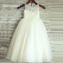 In Stock Long Fine Lace Flower Girl Dress 2019 Kids Tulle Floor Length First Communion Dress Baby Girl Birthday Prom Party Gown new cute white lace pink fluffy tulle baby girls birthday party gown ankle length with big bow 2018 flower girl dress any size