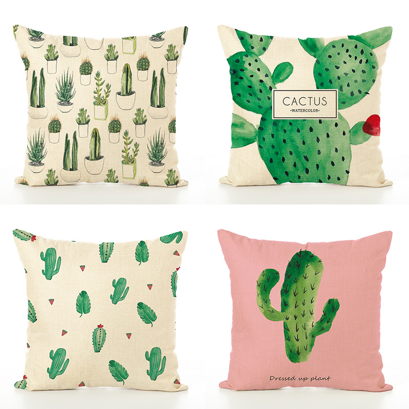 9 Style 45x45 cmTropical Decoration Print Linen Plant Girl Cactus Cushion Cover Throw Pillow Car Sofa Home Decorative Pillowcase