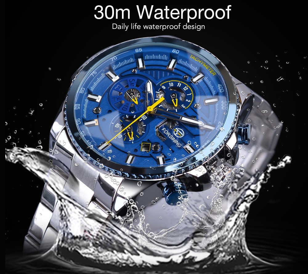 HTB140CYJ3HqK1RjSZFgq6y7JXXaF Forsining Blue Ocean Design Silver Steel 3 Dial Calendar Display Mens Automatic Mechanical Sport Wrist Watches Top Brand Luxury