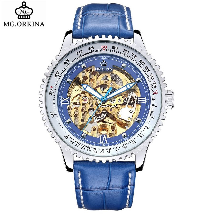 2017 MG.Orkina Fashion Erkek Kol Saati Men's Skull Auto Mechanical Watch Wristwatches Box Free Ship
