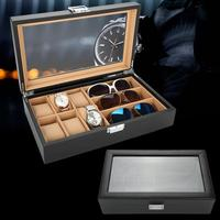 Brand New PU Leather 6 Grids 3 Sunglasses Watch Jewelry Display Box Glass Window Jewelry Accessories Storage Organizer Box Gift