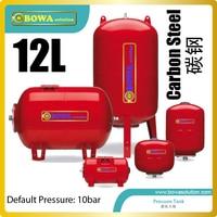 12L carbon staal Horizontale druk tank is geweldig voor lucht bron of water warmtepomp boiler/air conditioner