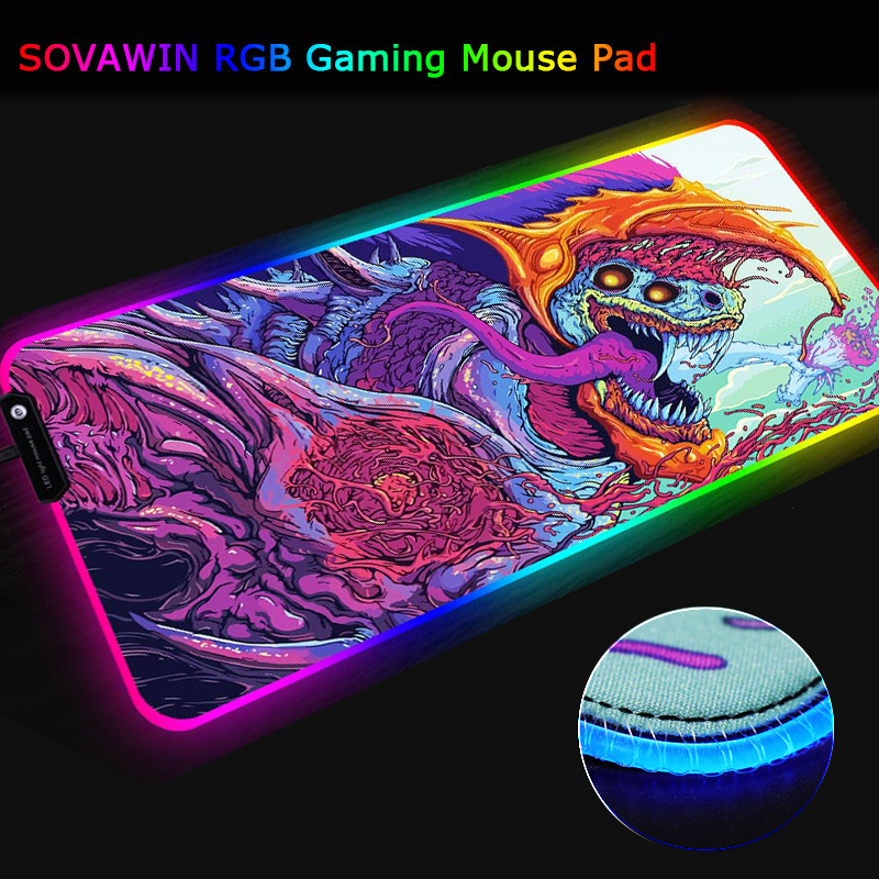 SOVAWIN LED RGB Mouse Pad Gaming Rubber 800x300 Mouse Mat USB Anti slip Seven colors with