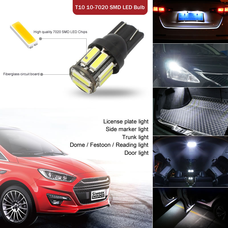 4Pcs W5W 10 7020 SMD Car T10 LED 194 168 Wedge Replacement Reverse Instrument Panel Lamp 4Pcs W5W 10-7020 SMD Car T10 LED 194 168 Wedge Replacement Reverse Instrument Panel Lamp White Blue Bulbs For Clearance Lights