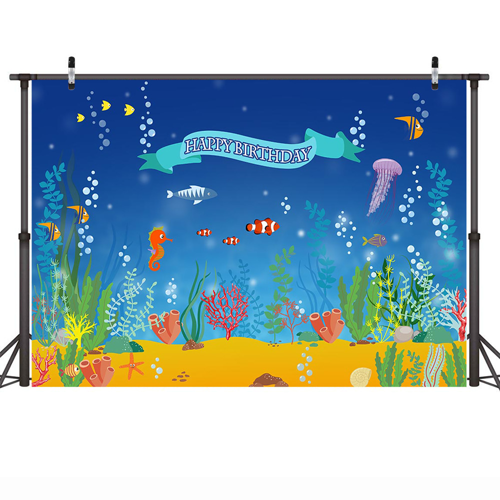 Mehofoto Happy Birthday Party Poster Photography Backdrops Mermaid Princess Underwater World Photo Background Fish Photo Studio in Background from Consumer Electronics