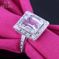 HELON 4.36ct Genuine White Topaz Ring 925 Sterling Silver Natural Diamonds Engagement Wedding Ring Vintage Art Deco Fine Jewelry