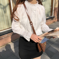 White Shirt Female Spring blusas mujer de moda 2019 lace blouse New Embroidered Long Sleeve Shirts hollow out tops good quality