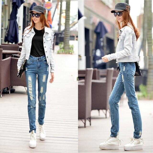 90S Fashion 2015 Ladies Ripped Jeans Sexy Slim Denim Loose -5654