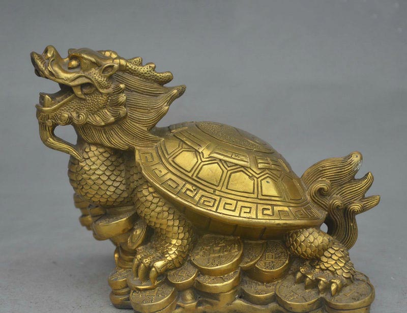 8 Chinese Folk FengShui Brass Evil Dragon Turtle Tortoise On Wealth Coin Statue8 Chinese Folk FengShui Brass Evil Dragon Turtle Tortoise On Wealth Coin Statue
