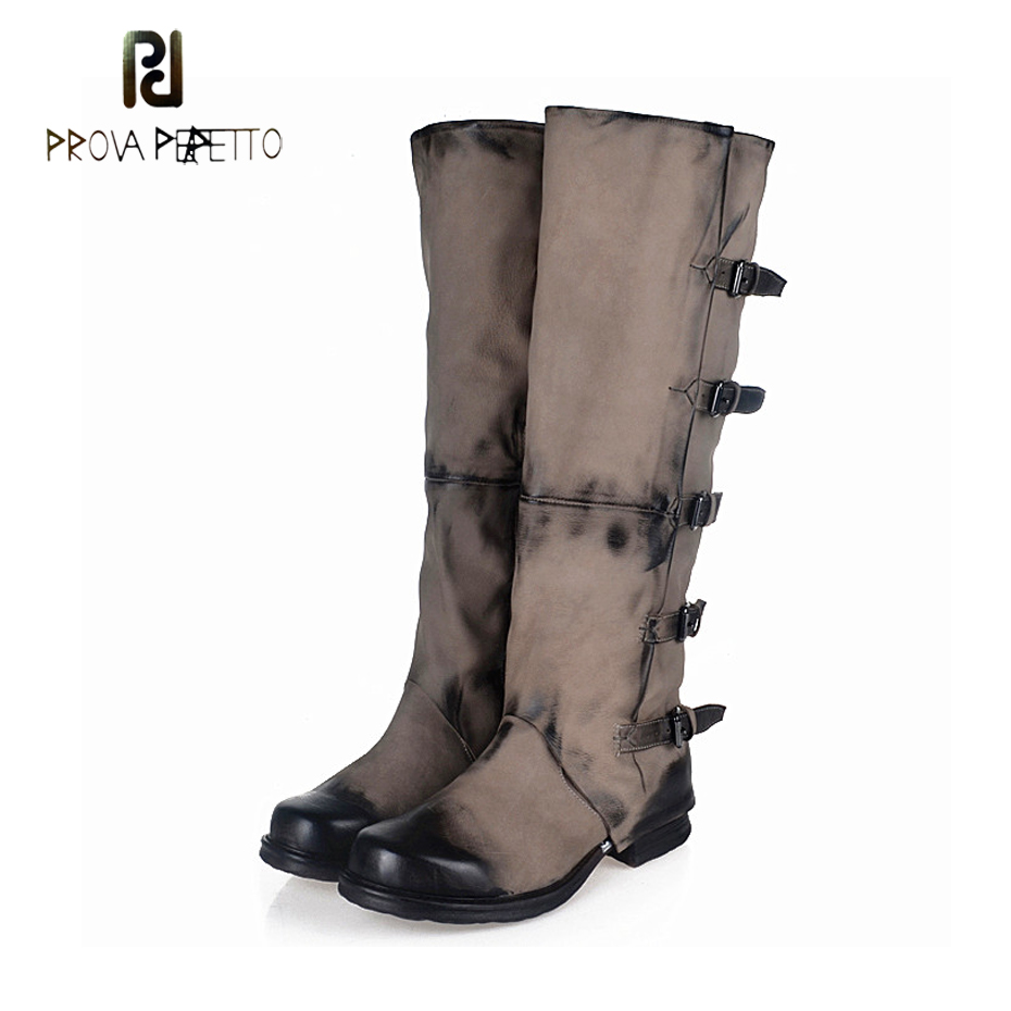 Prova Perfetto Genuine Leather Do Old Women Knee High Boot Square Toe Thick Bottom Motorcycle Boots Belt Buckle Knight Long Boot prova perfetto genuine leather mixed metal decoration mid calf boots square toe thick heel buckle belt retro matrin boots women