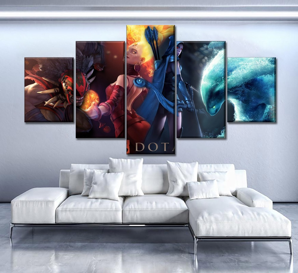 Modern Artwork High Quality Canvas Print 1Piece Dota 2 Fire And Ice Heroes Painting Home Decorative Wall Game Poster in Painting Calligraphy from Home Garden