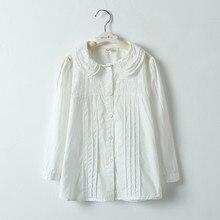 ФОТО children school white blouse for girls spring autumn 100%cotton fashion design long sleeve lace shirts big girl kids dress shirt