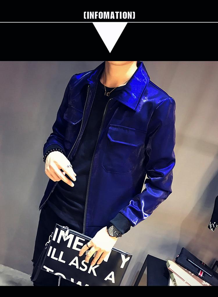 57659f6e8 Shiny Bomber jacket spring autumn men slim fit thin Stage outwear mens  fashion Personality nightclub coat Sun protection jacket