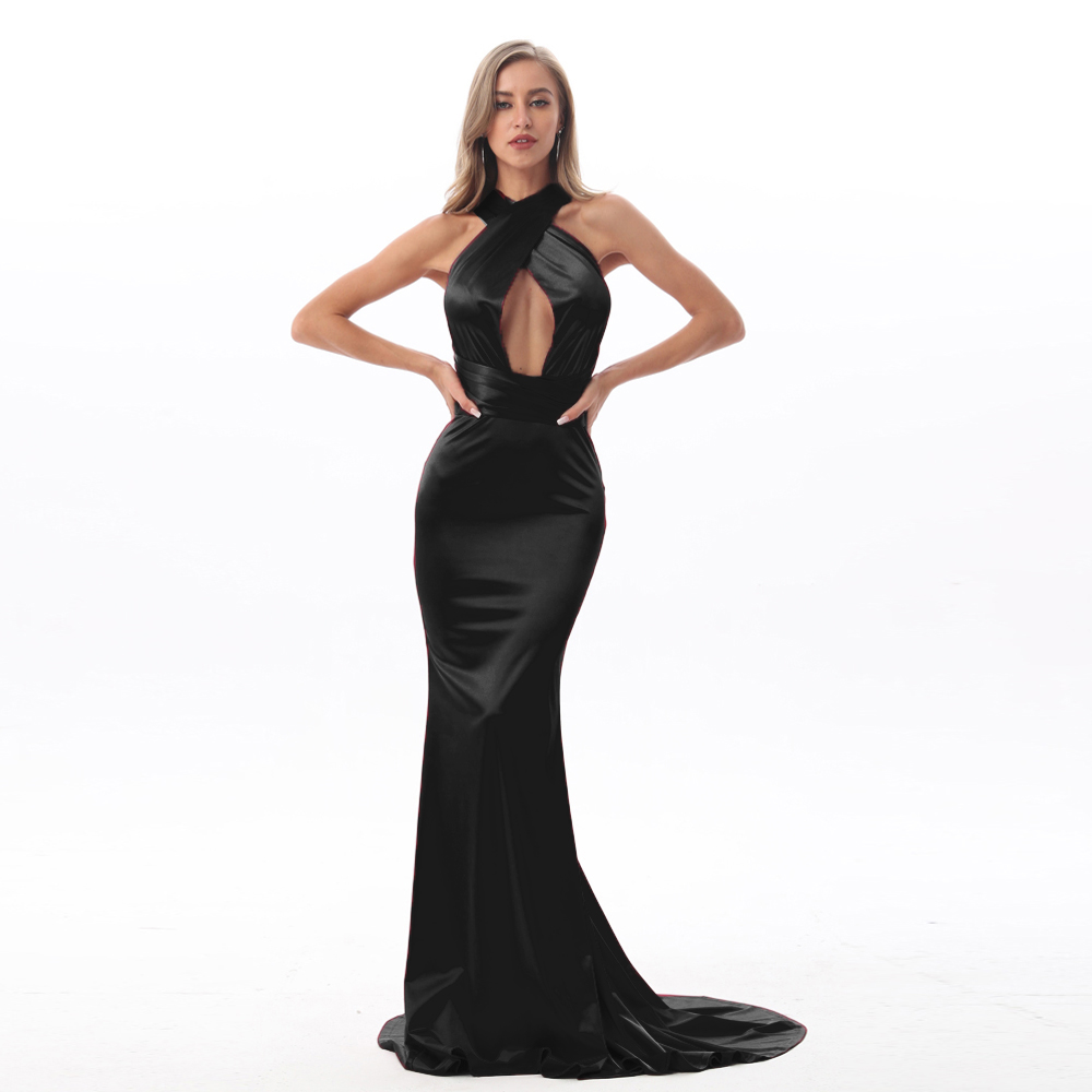 Black Satin Floor Length Dress DIY Straps Bodycon Open Back Elegant Mermaid Dress Stretchy Deep V