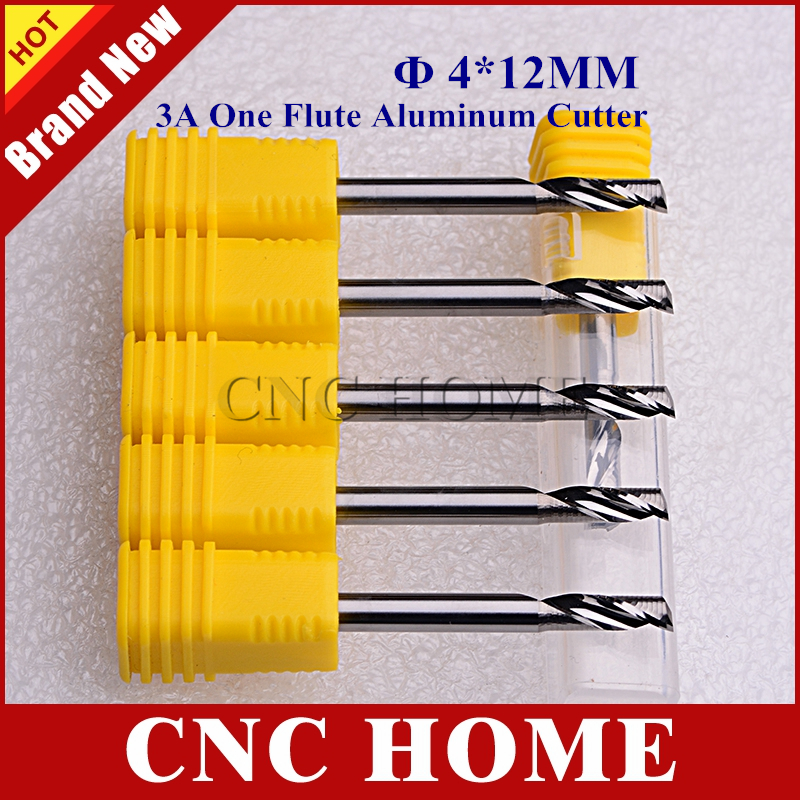 5pcs 4mm*12mm Import Solid Carbide One Flute Milling Cutter, Aluminium Cutting Tools CNC Router Bits for Aluminum Alloy Copper(China)