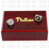One Set 2PCS 1980 2008 Philadelphia Phillies World Series Championship Ring With Wooden Box Replica Rings