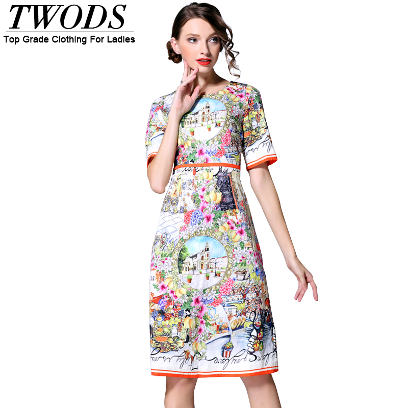 Twods 2016 New Fashion Crepe Slim Cut Women Dress Colorful Baroque Style Floral Pattern Print