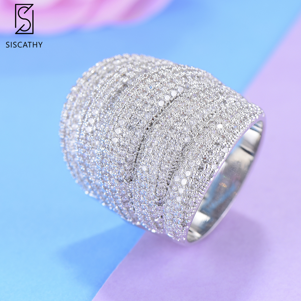 SISCATHY Luxury Dubai Indian Wide Surface Finger Rings Statement Cubic Zirconia Circle Ring For Women Girls Party Engagement in Rings from Jewelry Accessories
