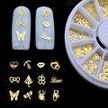 2016 Nuevo de 1 ruedas 3d del Metal del Oro Nail Art Decoration Rueda Flores Amor Encanto de la Forma de Uñas Accesorios de La Joyería