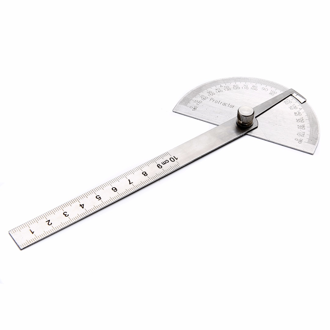 1Pcs Stainless Steel Protractor 180 Degree 10cm Angle Ruler Rotary Adjustable Measuring Tool 198 X 53 X 14mm