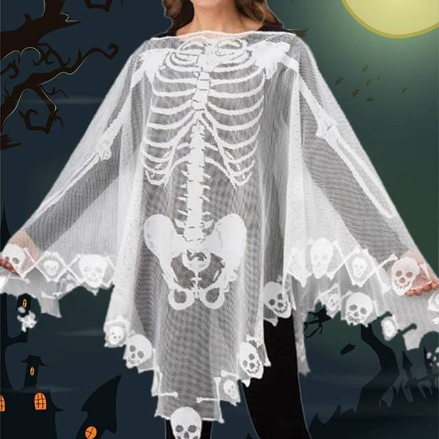 a2472258017 2019 Halloween Eve Women Lace Cosplay Demon Ghost Scary Skull Skeleton Poncho  Halloween Costume Spooky Cape Props Decoration