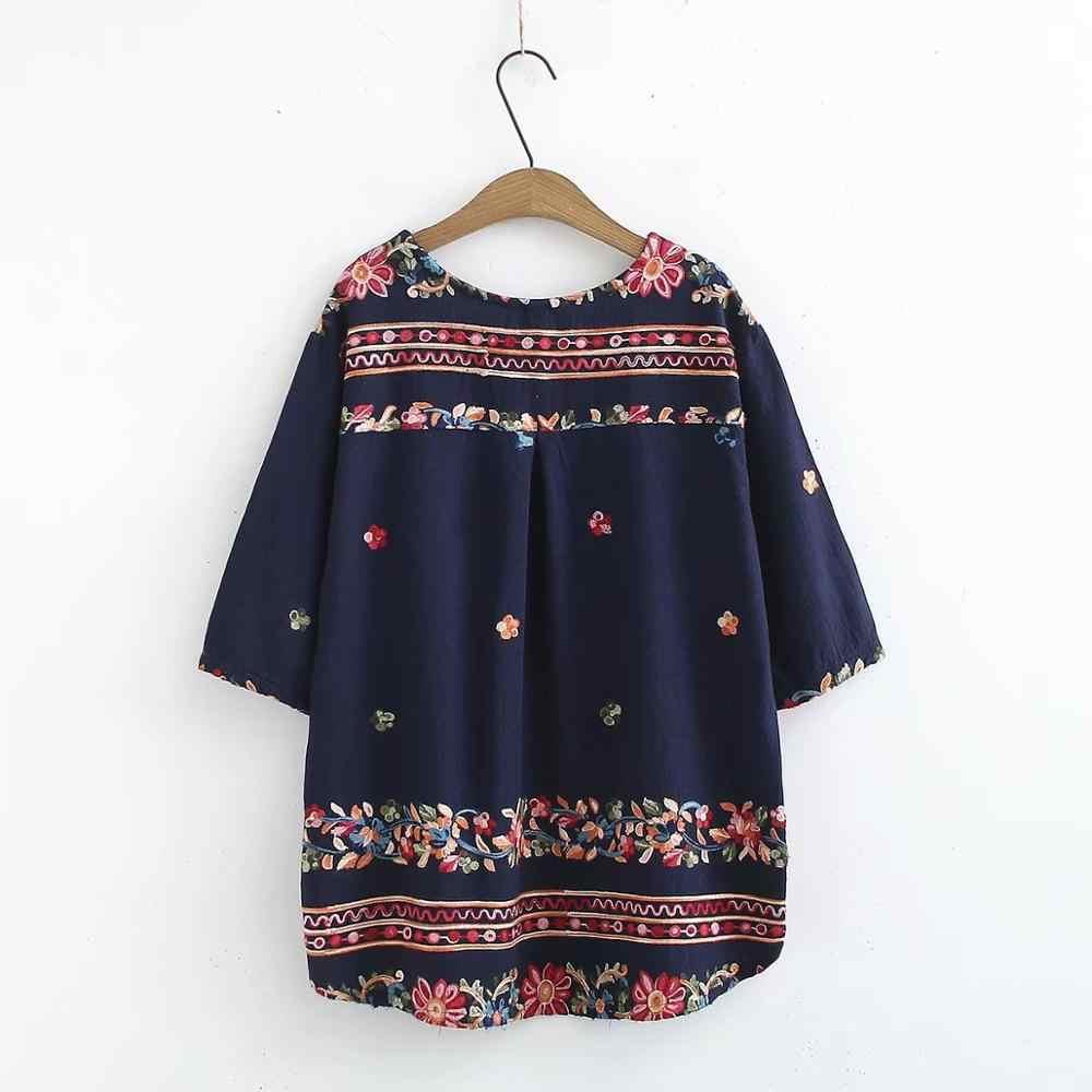 プラスサイズ花刺繍綿の女性の tシャツ 2019 V ネック tシャツ半袖女性トップス tシャツ夏 tシャツファム