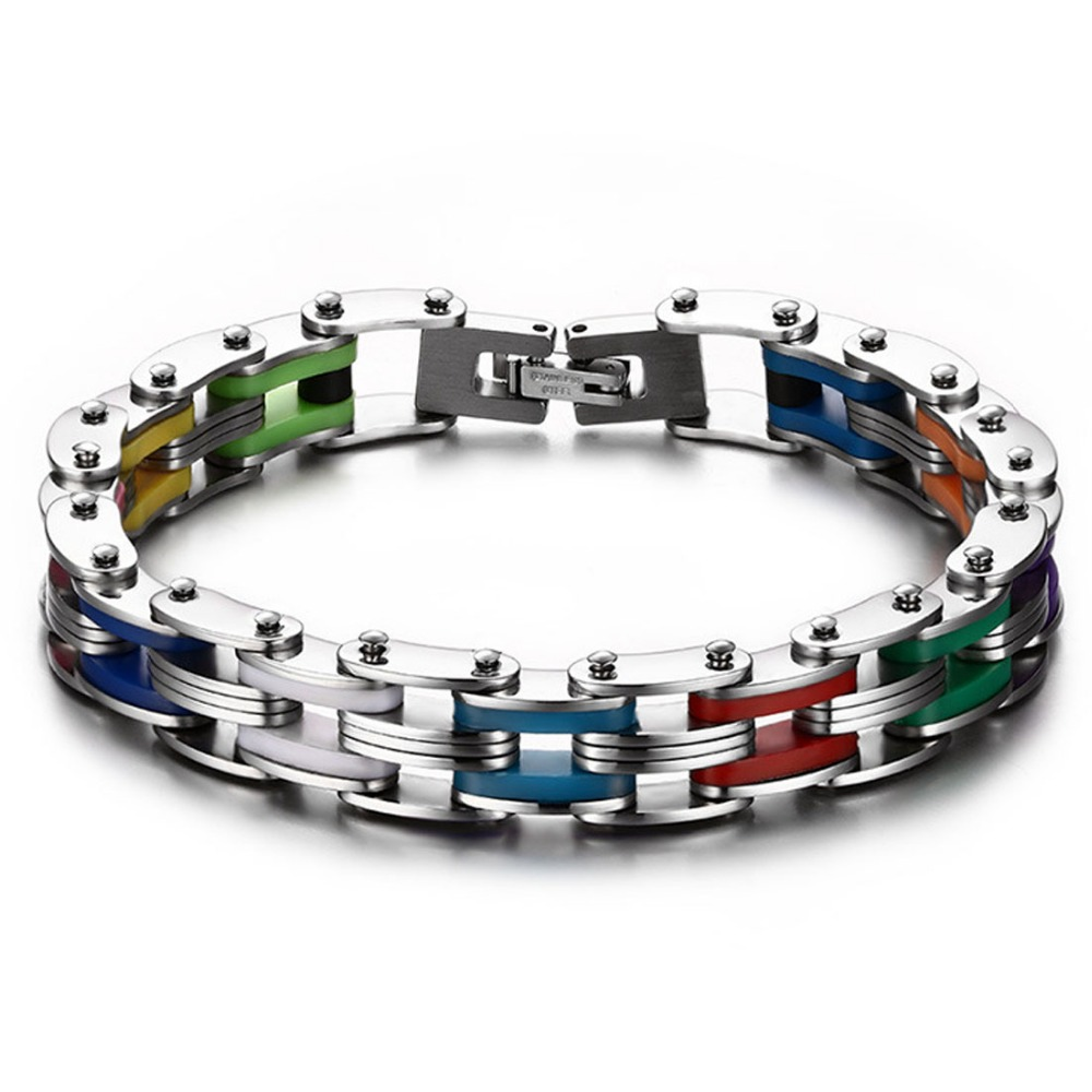 New Sale Fashion Jewelry 316L Stainless Steel Silver Bicycle Motor Men Womens Colorful Silicone Chain Bracelet Wristband 8″ 12mm