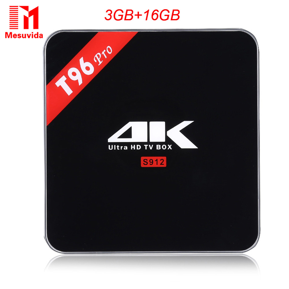 Mesuvida T96 Pro Android6.0 Smart TV Box Amlogic S912 Octa Core 4 K BT4.1 + EDR