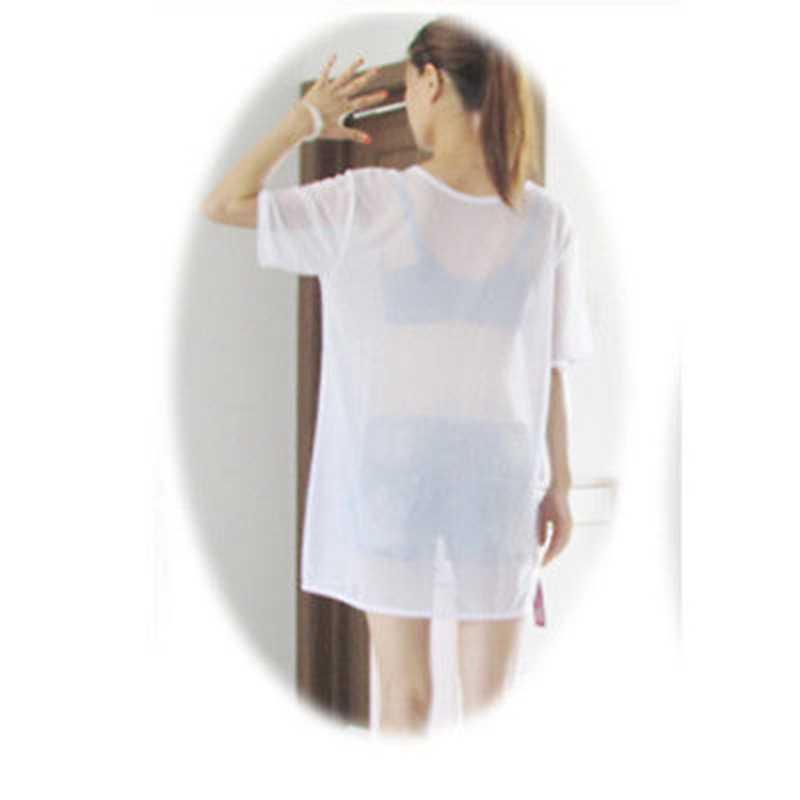 تي شيرت شفاف شفاف ومثير من شبكة متينة موضة نسائية جديدة لعام 2020 قمصان صيفية بأكمام قصيرة ورقبة دائرية وفضفاضة قمصان علوية مثيرة