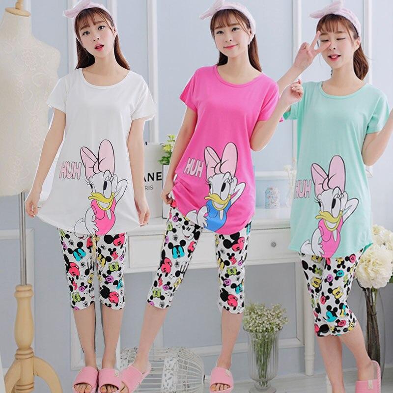 WAVMIT 2019 Summer Women Cute Pajama Set Girl Print Pyjama Set Short Sleeve Sleepwear Suit Women Nightshirt Sets